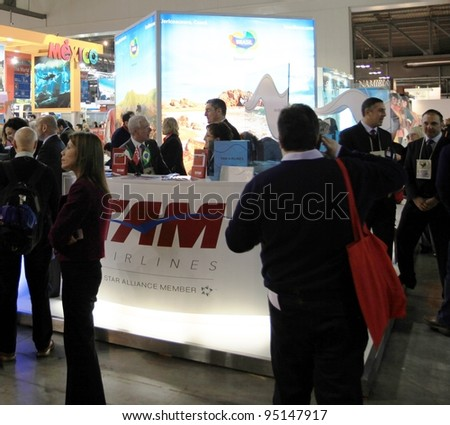 MILAN, ITALY - FEBRUARY 17: People visit tourism area during BIT, International Tourism Exchange Exhibition on February 17, 2011 in Milan, Italy.