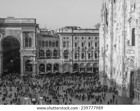 MILAN, ITALY - FEBRUARY 23, 2014: People visiting the Piazza Duomo square in front of the cathedral church - stock photo