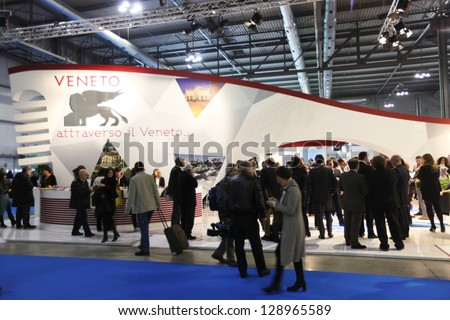 MILAN, ITALY - FEBRUARY 15: People visiting Veneto tourism area at BIT, International Tourism Exchange Exhibition on February 15, 2013 in Milan, Italy.