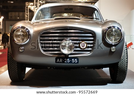 MILAN, ITALY - FEBRUARY 19: Siata Daina front view at Milano AutoClassica, the classical and sporting car show in Milan, Italy on February 19, 2012 - stock photo