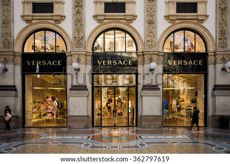 MILAN, ITALY - JAN 15: Versace boutique in Milan on January 15, 2016.  Versace is an Italian fashion company and trade name founded by Gianni Versace in 1978.