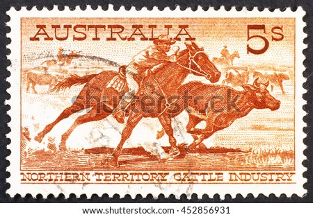 Milan, Italy - January 08, 2014: Australian vintage postage stamp on cattle industry
