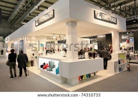 MILAN, ITALY - JANUARY 28: Close-up of design and interior decoration products stand at Macef, International Home Show Exhibition on January 28, 2011 in Milan, Italy. - stock photo
