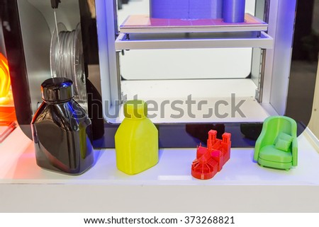 MILAN, ITALY - JANUARY 30: 3D printed objects on display at HOMI, home international show and point of reference for all those in the sector of interior design on JANUARY 30, 2016 in Milan.