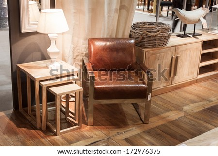 MILAN, ITALY - JANUARY 20: Detail of a living room on display at HOMI, home international show and point of reference for all those in the sector of interior design on JANUARY 20, 2014 in Milan.