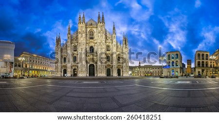 MILAN, ITALY - JANUARY 13, 2015: Duomo di Milano (Milan Cathedral) and Piazza del Duomo in Milan, Italy. Milan's Duomo is the second largest Catholic cathedral in the world. - stock photo