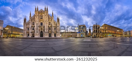 MILAN, ITALY - JANUARY 13, 2015: Duomo di Milano (Milan Cathedral) and Piazza del Duomo in Milan, Italy. Milan's Duomo is the second largest Catholic cathedral in the world.