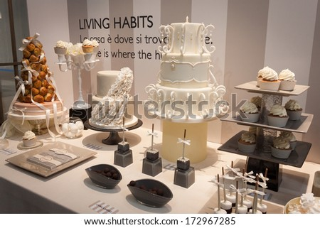 MILAN, ITALY - JANUARY 20: Elegant cakes on display at HOMI, home international show and point of reference for all those in the sector of interior design on JANUARY 20, 2014 in Milan.