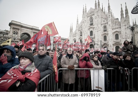 MILAN, ITALY - JANUARY 28: FIOM metalworkers demonstration held in Milan January 28, 2011. FIOM metalworkers manifest against the new laws established by Marchionne, president of Fiat.