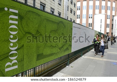 MILAN, ITALY-JANUARY 13, 2012: Green graduation day banner exposed at the Bocconi University building, for the graduation day, in Milan. - stock photo