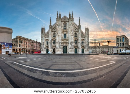 MILAN, ITALY - JANUARY 2, 2015: Milan Cathedral (Duomo di Milano) and Piazza del Duomo in Milan, Italy. Milan's Duomo is the second largest Catholic cathedral in the world. - stock photo
