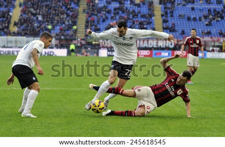 MILAN, ITALY-JANUARY 18, 2015: soccer players in action during the italian serie A soccer match AC Milan vs Atalanta, in Milan. - stock photo