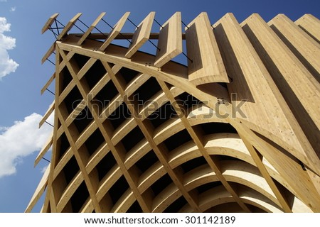 MILAN, ITALY - JULY 25: Architectural detail of a modern building at Expo, universal exposition on the theme of food on JUNE 25, 2015 in Milan. - stock photo