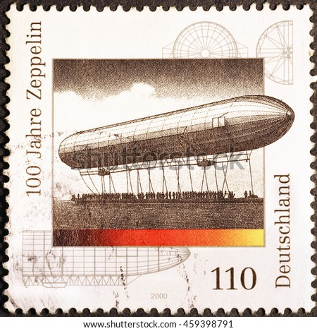 Milan, Italy - July 19, 2016: Centenary of Zeppelin airship on german postage stamp