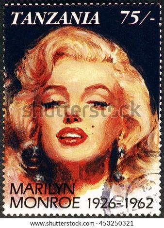 Milan, Italy - July 15, 2016: Marylin Monroe portrait on postage stamp of Tanzania - stock photo