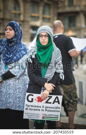 MILAN, ITALY - JULY 26: Pro Palestine manifestation held in Milan on July, 26 2014. People took to the streets to claim  Gaza and Palestine freedom against israel war and bombing