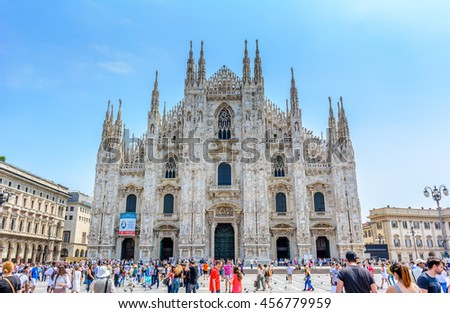 Milan, Italy - July 02, 2016: View of famous Milan Cathedral (Duomo di Milano) on piazza in Milan, Italy
