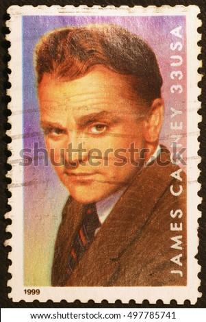Milan, Italy - June 18, 2016: Actor James Cagney on american postage stamp