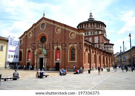 MILAN, ITALY - JUNE 1: church Santa Maria delle Grazie on june 1, 2014 in Milan.  - stock photo
