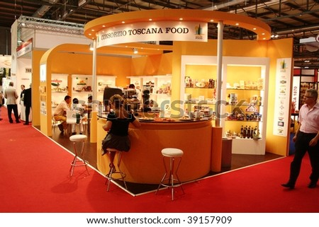 MILAN, ITALY - JUNE 10: Close-up of the Tuscany regional stand at Tuttofood 2009, World Food Exhibition June 10, 2009 in Milan, Italy.