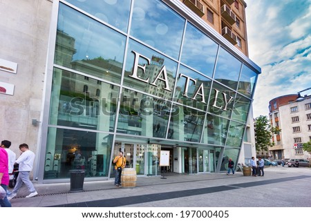 MILAN, ITALY - JUNE 2, 2014: Eataly opens gastronomic megastore in Milan and plans to float shares in 2017 - stock photo