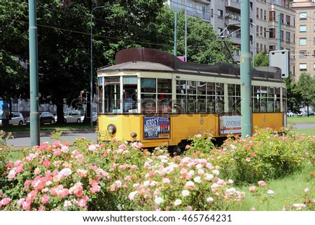 MILAN, ITALY - JUNE 27, 2016: historic tram renovated in Repubblica square, ATM Class 1500 was built between 1920 and 1930