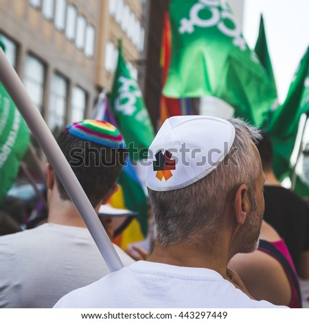 MILAN, ITALY - JUNE 25: Jewish people at Pride parade in Milan JUNE 25, 2016. Thousands of people march in the city streets for the annual Pride parade, claiming equality and legal rights. - stock photo