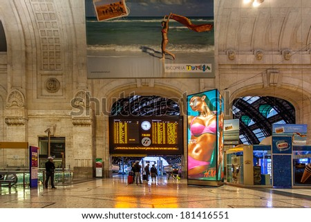 MILAN, ITALY - JUNE 07, 2012: Main timetable and interior of Milan Central Station. Station was opened in 1931, serves national and international routes and is one of main European railway stations. - stock photo