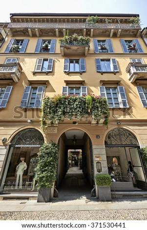 MILAN, ITALY - JUNE 11,2015: Typical house from 1899 in the center of Milan and which has lived, worked and died Piero Manzoni a conceptual artist - stock photo
