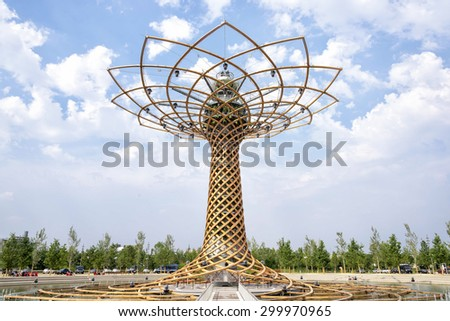 MILAN, ITALY - JUNE 6 2015: View of The tree of life. The tree of life is the symbol of Expo 2015 universal exposition on the theme of food - feed the planet. - stock photo