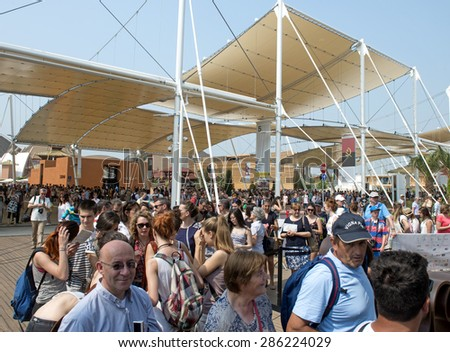 MILAN, ITALY-JUNE 05, 2015: visitors waiting in line to enter at the Brazil pavillion at EXPO 2015, in Milan. - stock photo