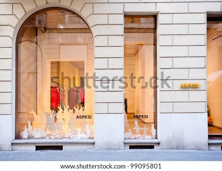 MILAN, ITALY - MAR 30: Aspesi boutique in Via Montenapoleone in Milan on March 30, 2012. Aspesi is an world-wide famous italian luxury brand founded by Alberto Aspesi in 1969. - stock photo