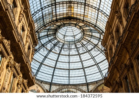 MILAN, ITALY - MAR 29, 2014: Galleria Vittorio Emanuele II, one of the world's oldest shopping malls. The gallery is built between 1865 and 1877 by Giuseppe Mengoni