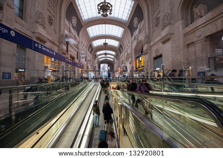 MILAN, ITALY - MARCH 23: Central railway station on March 23, 2013 in Milan, Italy. Every day about 320,000 passengers pass through the station, for an annual total of 120 million passengers. - stock photo