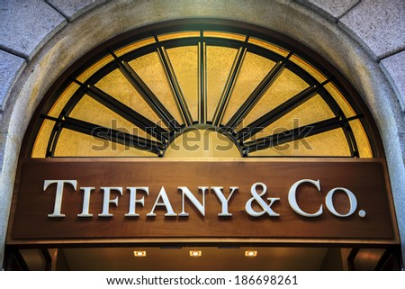 MILAN, ITALY - MARCH 9, 2014: Detail of Tiffany & co. shop in Milan. It  is an American multinational luxury jewelry and specialty retailer founded at 1837. - stock photo