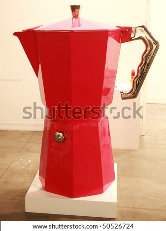 MILAN, ITALY - MARCH 27: Giant coffee machine at MiArt ArtNow, international exhibition of modern and contemporary art March 27, 2010 in Milan, Italy. - stock photo