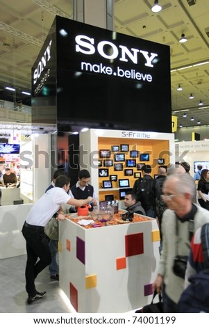 MILAN, ITALY - MARCH 26: People visit Sony stands at PHOTOSHOW, International Photo and Digital Imaging Exhibition on March 26, 2011 in Milan, Italy