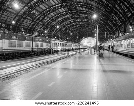MILAN, ITALY - MARCH 22, 2009: Trains ready to depart from the Central railway station in Milan, Italy - stock photo