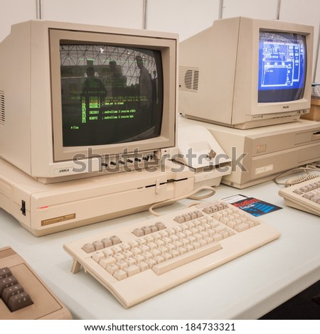MILAN, ITALY - MARCH 30: Vintage computers on display at Robot and Makers Milano Show, event dedicated to robotics and makers on MARCH 30, 2014 in Milan.