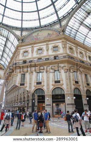 MILAN, ITALY - MAY 20, 2015: A view of the Galleria Vittorio Emanuele in Milan, Italy.