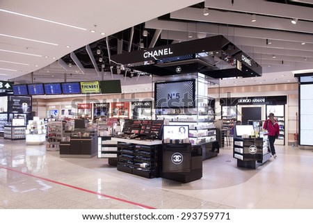 MILAN, ITALY-MAY 29,2015: airport duty free of Malpensa airport, in Milan. - stock photo
