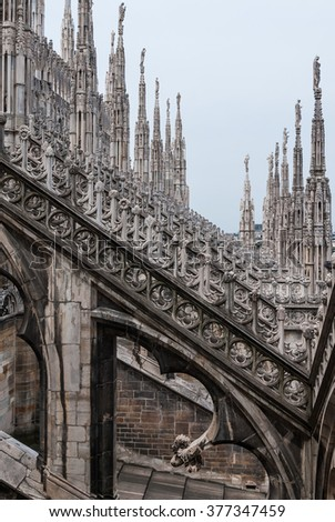 MILAN, ITALY - MAY 19, 2010: At the roof of The Cathedral