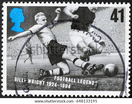 Milan, Italy - May 14, 2017: Billy Wright on british postage stamp