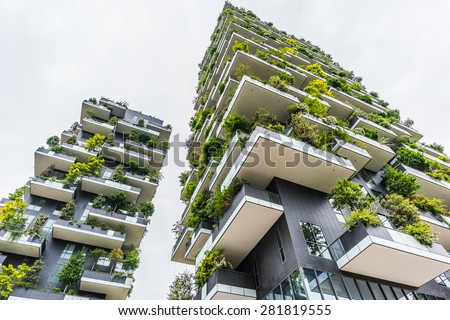 MILAN , ITALY - 03 MAY 2015 : Bosco Verticale. two prestigious buildings, which grow more than 1,000 specimens of plants, integrate seamlessly into the green around them. - stock photo