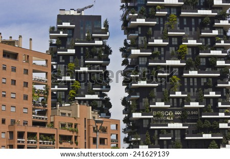 MILAN, ITALY - MAY 10 2014: Bosco Verticale (Vertical Forest) Architectural detail. Designed by Stefano Boeri, they are residential towers in the Porta Nuova district of Milan - stock photo