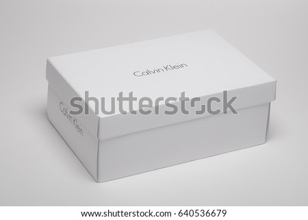 Milan, Italy - May 1, 2017: Calvin Klein logo from a CK shoe box.