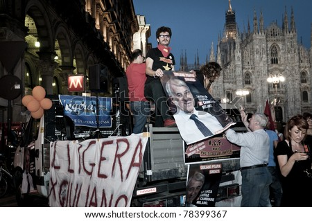 MILAN, ITALY - MAY 30: celebration for the election of the new center-left Mayor Giuliano Pisapia, after 18 years of right-wing government in Milan on May 30, 2011. 50,000 people celebrate