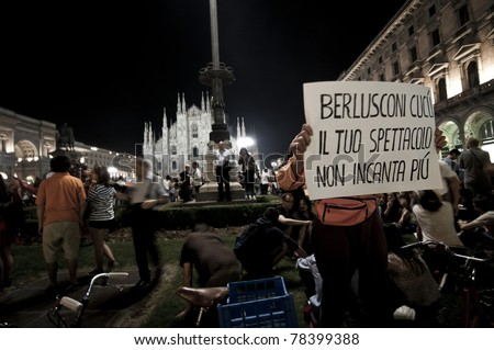 MILAN, ITALY - MAY 30: celebration for the election of the new center-left Mayor Giuliano Pisapia, after 18 years of right-wing government in Milan on May 30, 2011. 50,000 people celebrate - stock photo