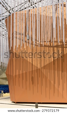 MILAN, ITALY - May 7: detail of  decoration on passage ceiling at collective pavilion of Arid Zones , shot  on may 7 2015  Milan, Italy  - stock photo