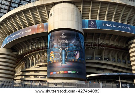MILAN, ITALY - MAY 27, 2016: detail of Giuseppe Meazza stadium, known as San Siro, the day before the 2016 UEFA Champions League final game between Real Madrid and Atletico